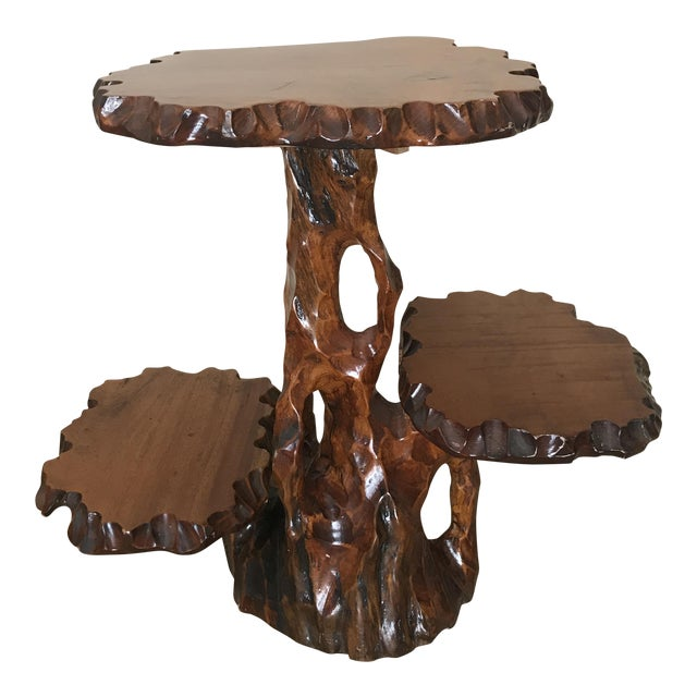 Burlwood Live Edge Side Table For Sale