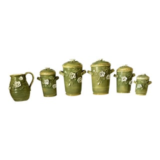 Majolica Canisters/Urns and Matching Water/Tea Pitcher - Set of 6 For Sale
