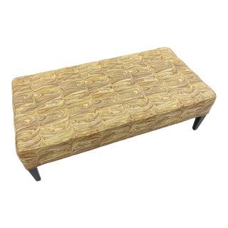 Custom Upholstered Ottoman in Marbleized Motif For Sale