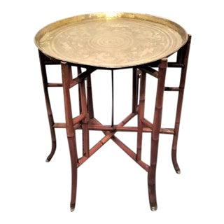 Antique Bamboo and Hand-Hammered Brass Tray Table For Sale