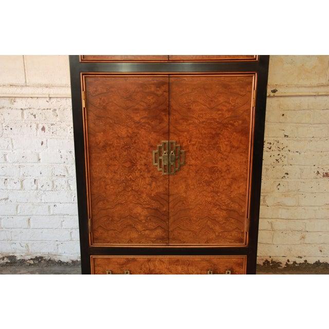 Century Furniture Black Lacquer & Burlwood Armoire - Image 6 of 11