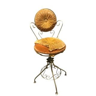 Vintage 1950s Brass Hollywood Regency Vanity Chair