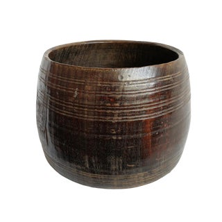 Old Nepal Wood Container Bowl For Sale
