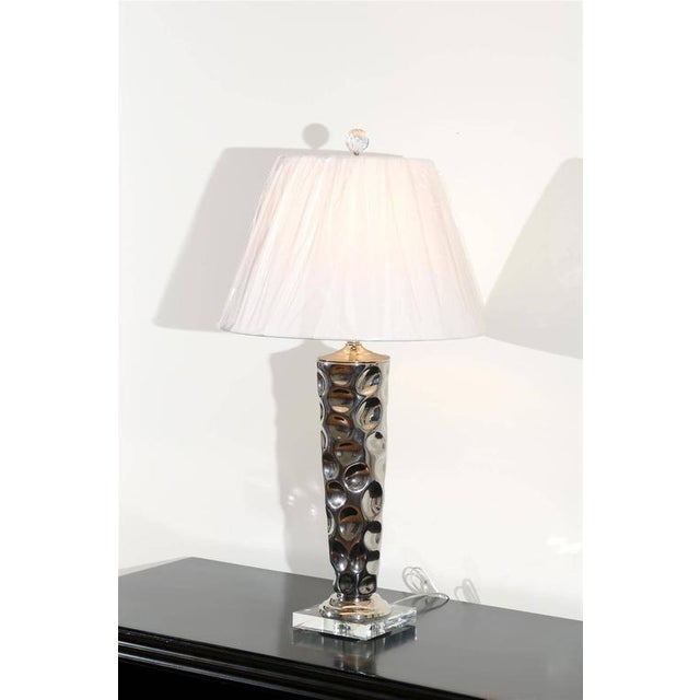 Modern Pair of Modern Ceramic Tornado Lamps with Nickel and Lucite Accents For Sale - Image 3 of 10