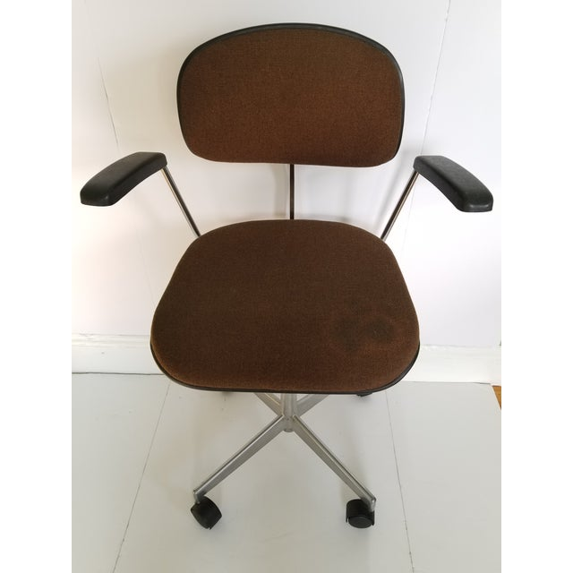 Mid Century Modern Labofa Denmark adjustable office desk armchair. Features a brown upholstered seat and back, aluminum...