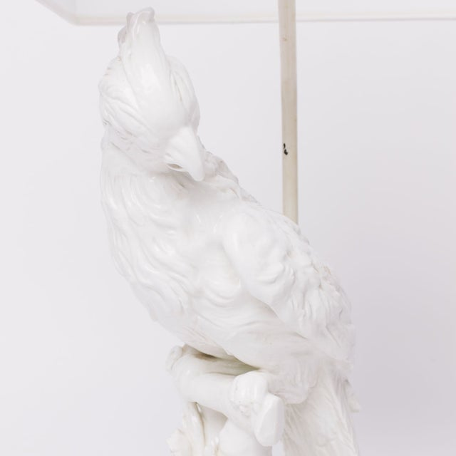 Asian White Parrot Table Lamp For Sale - Image 3 of 3