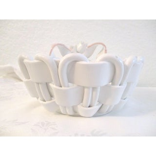 1980s Italian Pottery Woven Bread Basket with Pink Bow Motif Preview