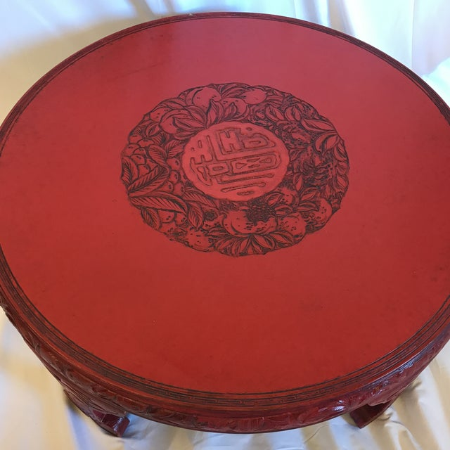 Round Red Lacquered Ming Style Coffee Table For Sale - Image 4 of 11