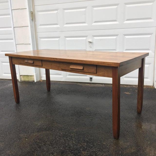 Large Vintage Modern 2-Drawer Desk - Image 3 of 11