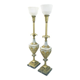 1940s Glass & Brass Torchiere Table Lamps - a Pair For Sale