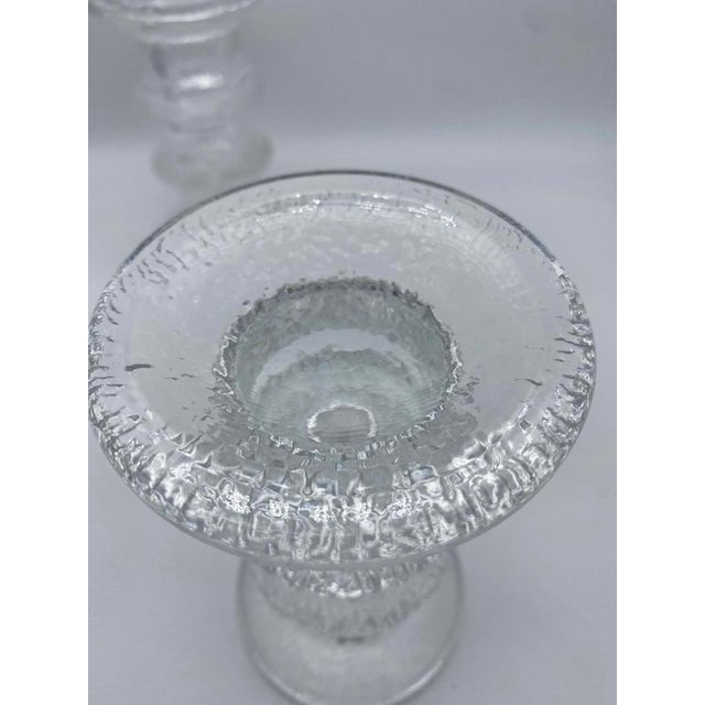 "Iittala Mid Century Timo Sarpaneva for Iittalia Glass ""Festivo"" Candlestick Holders - Pair For Sale - Image 4 of 8"