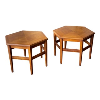 Vintage MCM Hexagon Side Tables by Drexel Heritage - a Pair For Sale