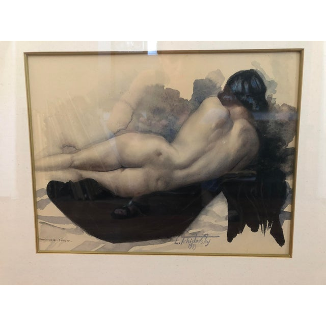 Figurative 1939 Vintage Original Lev Tchistovsky Reclining Nude Watercolor Painting For Sale - Image 3 of 8
