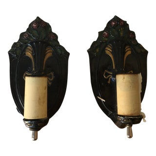 1930's Enameled Metal Wall Sconces - a Pair For Sale
