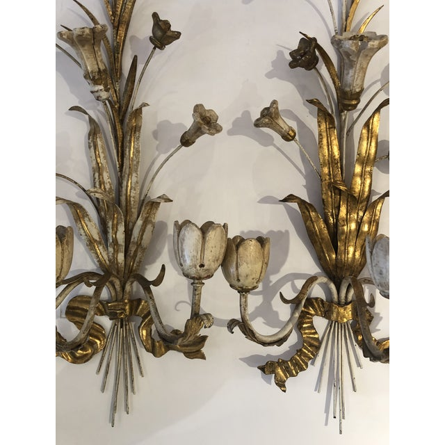 Gold Gilt Iron Carved Wood French Tulip Motife Candle Sconces -Pair For Sale - Image 10 of 13
