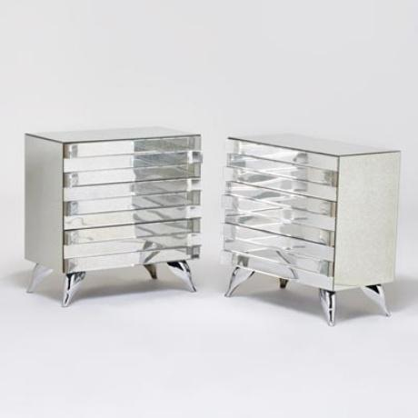 Hollywood Regency Style Mirrored Chests - A Pair - Image 2 of 4