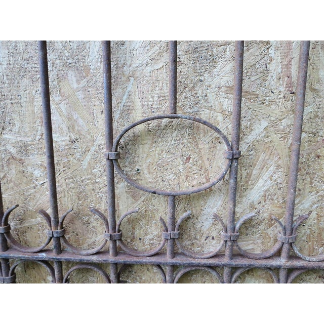 Brown Antique Victorian Iron Gate Window Garden Fence Architectural Salvage Door For Sale - Image 8 of 11