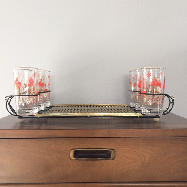 Mid-Century Metal 6-Glass Serving Tray - Image 5 of 11
