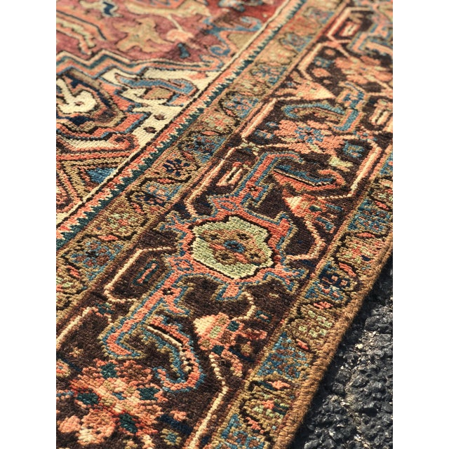 Persian 1940s Vintage Persian Heriz Large Area Rug - 9′5″ × 11′10″ For Sale - Image 3 of 13