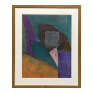 Vintage Abstract Oil Painting on Paper For Sale