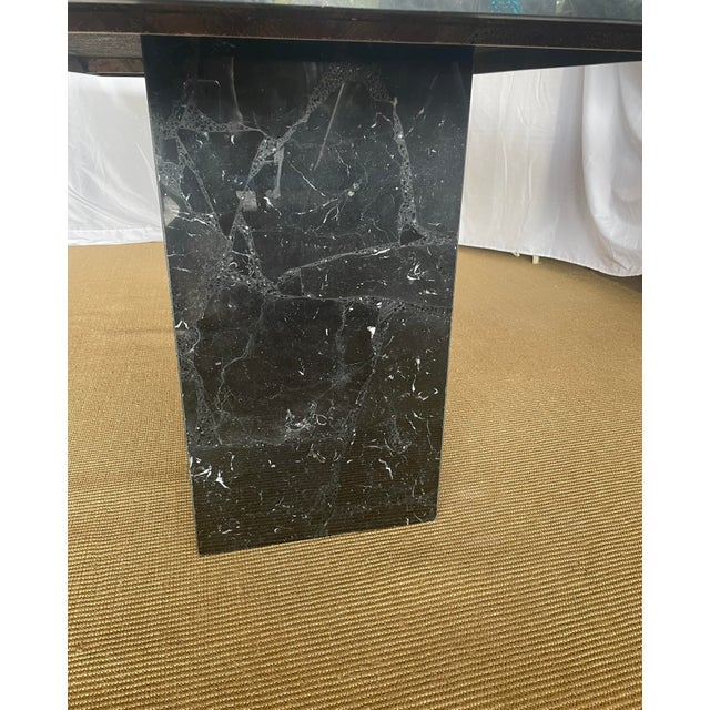 Stone 1980s Nero Marquina Black Marble Dining Table For Sale - Image 7 of 13