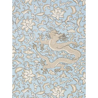 Sample, Scalamandre Chi'En Dragon Linen Print, Sky Fabric For Sale