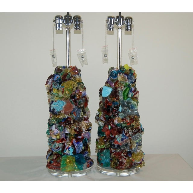 Contemporary Glass Rock Table Lamps by Swank Lighting Multicolor For Sale - Image 3 of 11