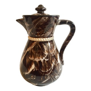 Antique McIntyre English Marbleized Creamware Coffee Pot For Sale