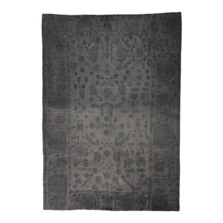 Dark Gray Turkish Kilim Rug with Minimalist Style For Sale