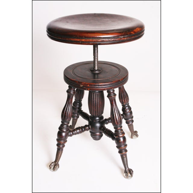 Victorian Wood Swivel Piano Stool with Ball & Claw Feet For Sale - Image 10 of 11