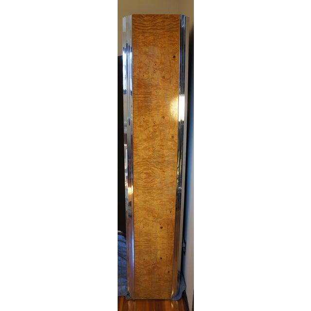 Milo Baughman Burl & Chrome Skyscraper Bar Cabinet - Image 6 of 11