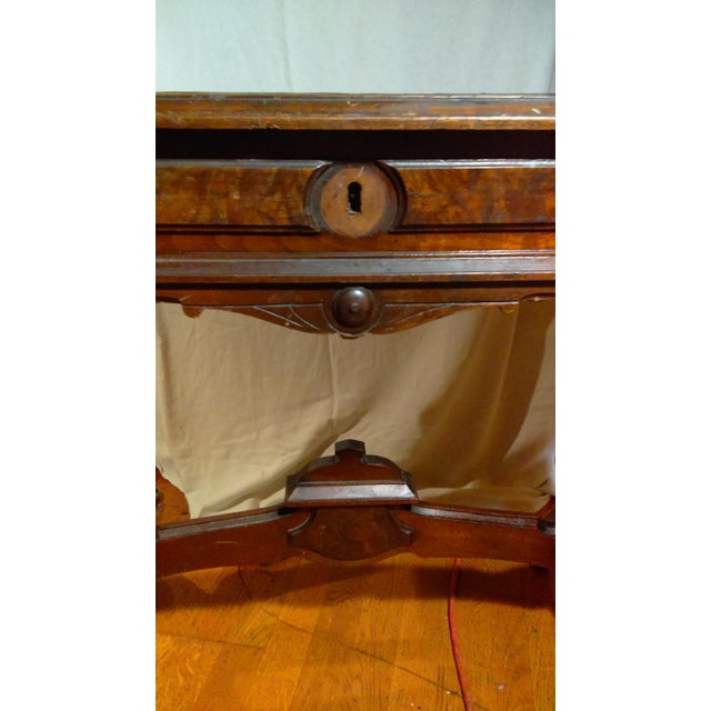Antique Writing Desk With Stretched Leather Top - Image 4 of 11