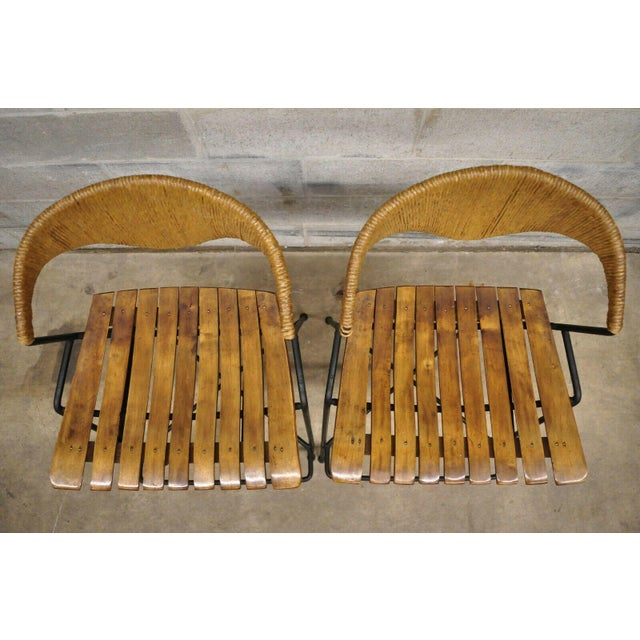 Mid-Century Modern Mid Century Modern Arthur Umanoff Wrought Iron and Rattan Bar and Bar Stools- 3 Pieces For Sale - Image 3 of 13