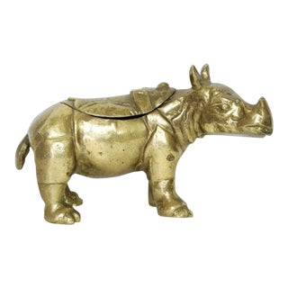 Brass Rhinoceros Rhino 1970s Vintage Arthur Court Designs Ink Well For Sale