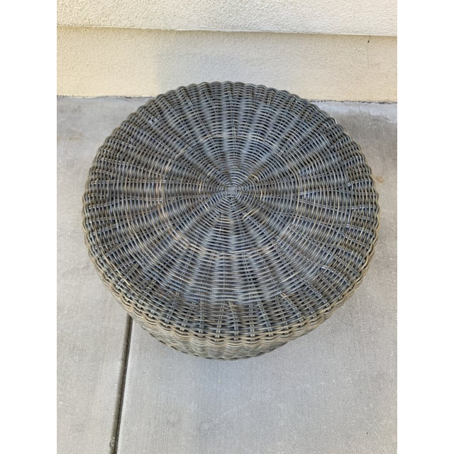 Rustic Wicker Wood Ottoman Footstool For Sale - Image 9 of 10