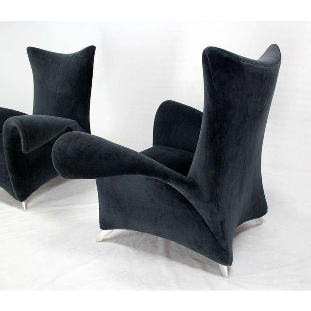 1970s Pair of Mid Century Modern High Back Oversize Wingback Chairs For Sale - Image 5 of 10