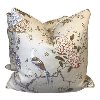 "Gp&j Baker ""Oriental Bird"" in Olive/Stone 22"" Pillows-A Pair For Sale"