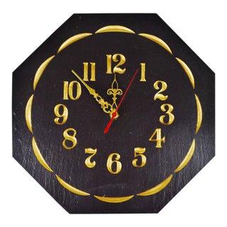 Vintage Capozzolo Slate Company Octagonal Slate Wall Clock For Sale