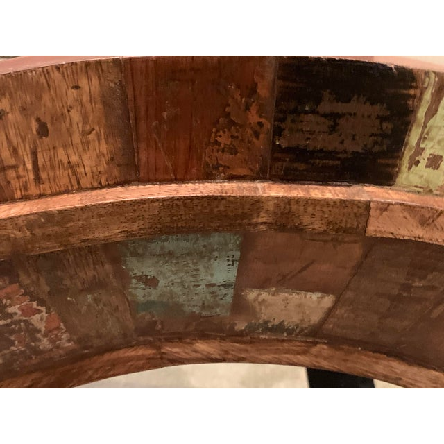 Rustic Reclaimed Wood Round Mirror For Sale In Chicago - Image 6 of 9