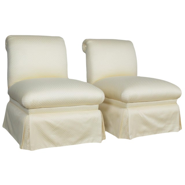 Donghia White Slipper Chairs - A Pair - Image 1 of 10