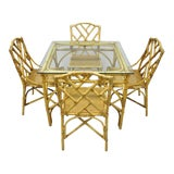 Image of Chinese Chippendale Boho Chic Bamboo Rattan Faux Bamboo Dining Set - 5 Pieces For Sale
