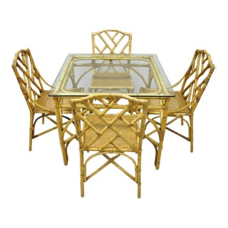 Chinese Chippendale Boho Chic Bamboo Rattan Faux Bamboo Dining Set - 5 Pieces For Sale