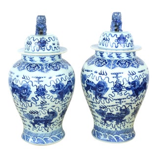 Antique Monumental Blue & White Ginger Jars With Foo Dog Lids - a Pair For Sale