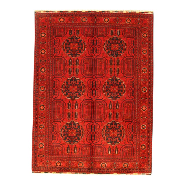 """Pasargad N Y Afghan Bashir Red Hand Knotted Rug - 4′9"""" × 6′4″ For Sale"""