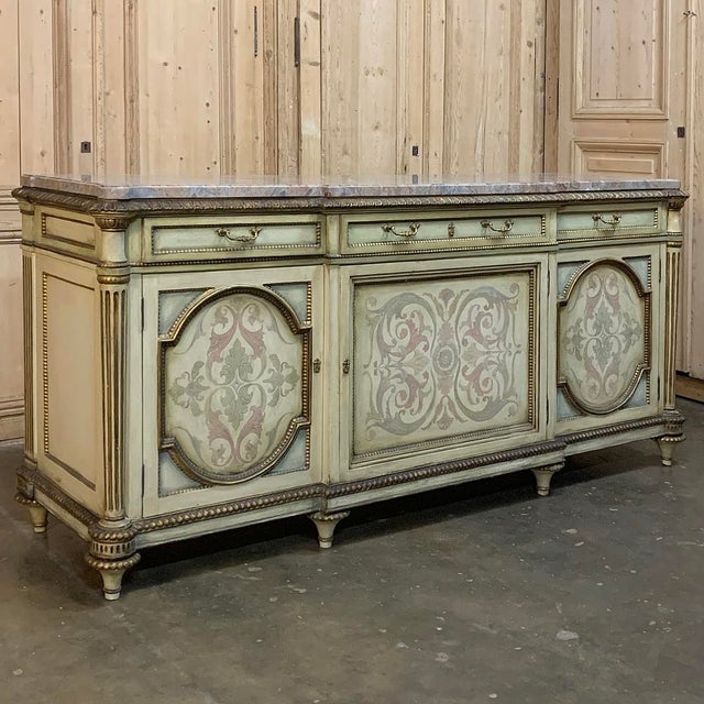 Antique Italian Marble Top Painted Buffet For Sale - Image 4 of 13