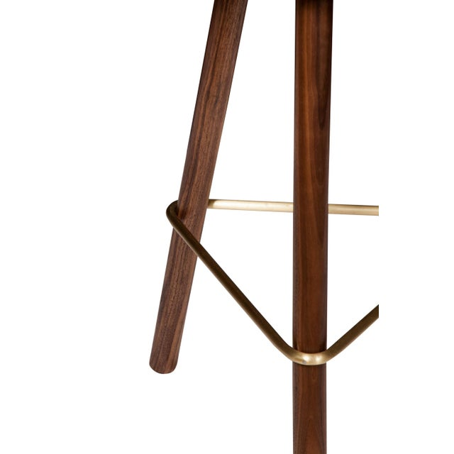 2010s Customizable Erickson Aesthetics Set of Three Walnut Stools For Sale - Image 5 of 5