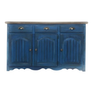 1980s Vintage Blue Farmhouse Buffet For Sale