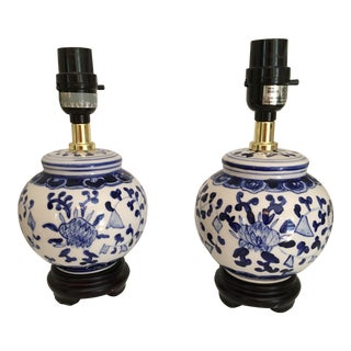 Chinese Blue and White Ginger Jar Lamps on Black Wooden Stands - a Pair