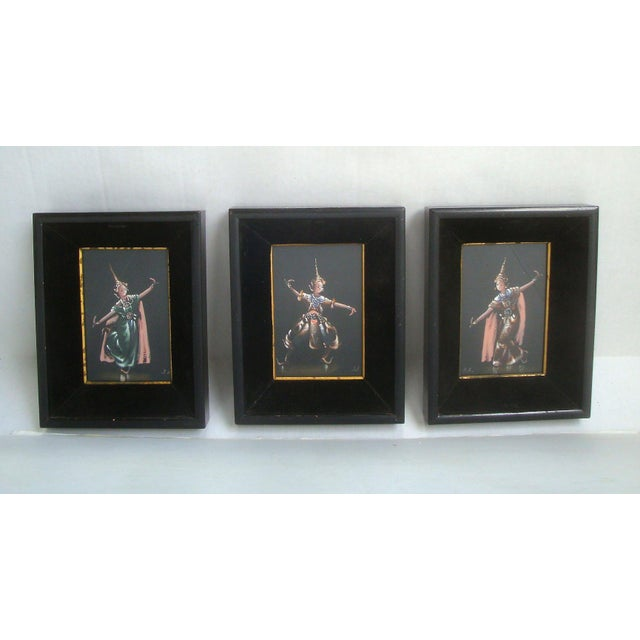Black Thailand or Bali Dancer Silk Paintings, Set of 3 For Sale - Image 8 of 10