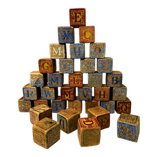 Antique Embossed Wood Victorian Alphabet Block - Set of 36 For Sale